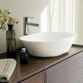 Clearwater Sontuoso Clear Stone Sit-On Countertop Basin 550mm Wide - 0 Tap Hole