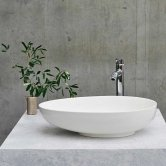 Clearwater Teardrop Clear Stone Sit-On Countertop Basin 550mm Wide - 0 Tap Hole