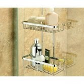 Coram Boston Large Hanging Double Suspended Wire Shower Basket - Chrome
