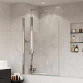Coram Frameless Compact Round Top Bath Screen 1400mm H x 800mm W - 5mm Glass
