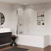 Coram Frameless Round Top Hinged Bath Screen 1400mm H x 800mm W - 5mm Glass