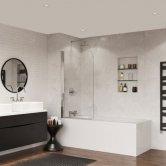 Coram Frameless Curved Bath Screen 1400mm High x 800mm Wide - 5mm Glass