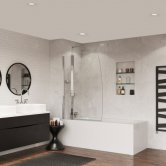 Coram Frameless Sail Bath Screen 1400mm High x 1050mm Wide - 5mm Glass