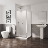 Coram GB 5 Chrome Bi-Fold Shower Door 1000mm Wide - 5mm Plain Glass