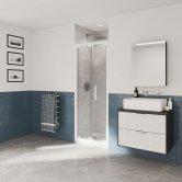 Coram Optima 6 White Bi-Fold Shower Door 900mm Wide - 6mm Plain Glass