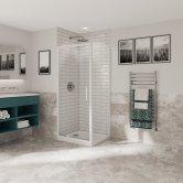 Coram Optima 6 White Pivot Shower Door 800mm Wide - 6mm Plain Glass
