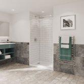 Coram Optima 6 White Sliding Shower Door 1000mm Wide - 6mm Plain Glass