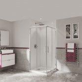 Coram Optima 6 Chrome Corner Entry Shower Enclosure 900mm x 900mm - 6mm Plain Glass
