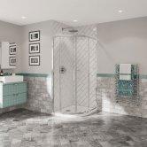 Coram Optima 6 Chrome Frame Quadrant Shower Enclosure 800mm x 800mm - 6mm Plain Glass