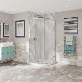 Coram Optima 6 Chrome Frame Quadrant Shower Enclosure 900mm x 900mm - 6mm Plain Glass