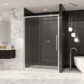 Coram Premier 8 Sliding Shower Door 1000mm Wide - 8mm Plain Glass