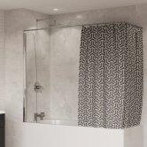 Coram Shower Curtain Screen 1400mm High x 250mm Wide - 4mm Glass