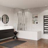 Coram 4 Panel Folding Bath Screen 1400mm High x 865mm Wide - Chrome