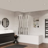 Coram 5 Panel Folding Bath Screen 1400mm High x 1060mm Wide - 4mm Glass