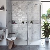 Coram Stylus Wet Room Glass Panel 1100mm Wide - 8mm Plain Glass