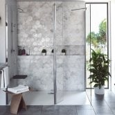 Coram Stylus Wet Room Glass Panel, 800mm Wide, 8mm Plain Glass