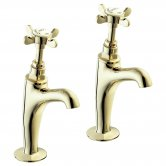 Deva Coronation High Neck Kitchen Sink Taps Pair, Pillar Mounted, Gold