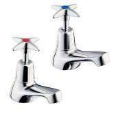 Deva Cross Handle Bath Taps Pair - Chrome