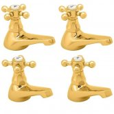 Deva Tudor Basin Taps and Bath Taps, Gold