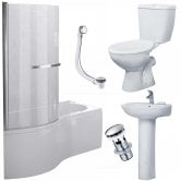 Duchy Hampstead Complete Bathroom Suite 1700mm x 703mm/900mm P-Shaped Shower Bath LH