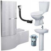 Duchy Hampstead Complete Bathroom Suite 1700mm x 703mm/900mm P-Shaped Shower Bath LH