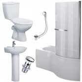 Duchy Hampstead Complete Bathroom Suite 1700mm x 703mm/900mm P-Shaped Shower Bath RH