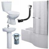 Duchy Hampstead Complete Bathroom Suite 1700mm x 703mm/900mm P-Shaped Shower Bath RH