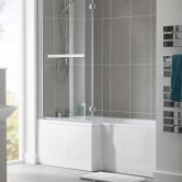 Duchy Kensington L-Shaped Shower Bath with Front Panel and Screen 1600mm x 700mm/850mm LH