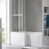 Duchy Kensington L-Shaped Shower Bath with Front Panel and Screen 1800mm x 700mm/850mm LH