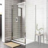 Duchy Spring Sliding Shower Door 1100mm Wide - 6mm Clear Glass