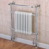 EcoRad Priory Radiator Towel Rail, 965mm H x 540mm W, White/Chrome