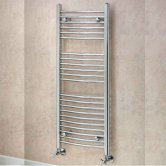 EcoRad Solace Curved Ladder Towel Rail, 800mm H x 500mm W, Chrome