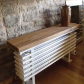 Heatwave Designer Bench Radiator with Oak Wooden Top 520mm H x 750mm W - White