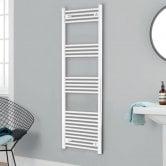 Heatwave Independent Straight Towel Rail 1400mm H x 400mm W - White