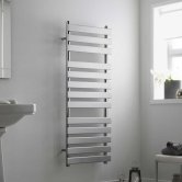 Heatwave Perlo Flat Panel Heated Towel Rail 800mm H x 500mm W - Chrome