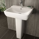 Hudson Reed Ambrose Basin with Full Pedestal, 550mm Wide, 1 Tap Hole