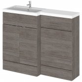 Hudson Reed Fusion LH Combination Unit with L Shape Basin - 1100mm Wide - Brown Grey Avola