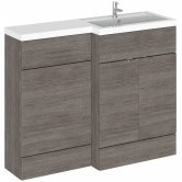 Hudson Reed Fusion RH Combination Unit with L Shape Basin - 1100mm Wide - Brown Grey Avola