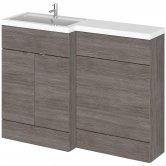 Hudson Reed Fusion LH Combination Unit with 600mm WC Unit - 1200mm Wide - Brown Grey Avola