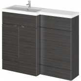 Hudson Reed Fusion LH Combination Unit with L Shape Basin - 1100mm Wide - Hacienda Black