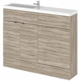 Hudson Reed Fusion Compact Combination Unit with Slimline Basin - 1100mm Wide - Driftwood