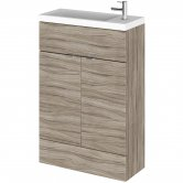 Hudson Reed Fusion Compact Vanity Unit with Basin 600mm Wide - Driftwood
