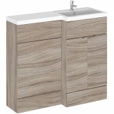 Hudson Reed Fusion RH Combination Unit with 500mm WC Unit - 1000mm Wide - Driftwood