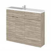 Hudson Reed Fusion Compact Combination Unit with Slimline Basin - 1000mm Wide - Driftwood