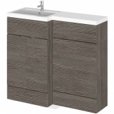 Hudson Reed Fusion LH Combination Unit with 500mm WC Unit - 1000mm Wide - Brown Grey Avola