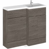 Hudson Reed Fusion RH Combination Unit with 500mm WC Unit - 1000mm Wide - Brown Grey Avola
