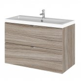 Hudson Reed Fusion Wall Hung 2-Drawer Vanity Unit with Basin 800mm Wide - Driftwood