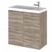 Hudson Reed Fusion Wall Hung 2-Door Vanity Unit with Compact Basin 500mm Wide - Driftwood