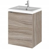 Hudson Reed Fusion Wall Hung 1-Door Vanity Unit with Basin 400mm Wide - Driftwood