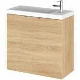 Hudson Reed Fusion Wall Hung 2-Door Vanity Unit with Compact Basin 600mm Wide - Natural Oak
